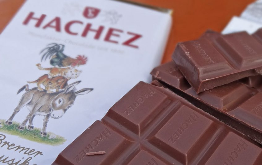 Beliebtes Mitbringsel - Schokolade mit Stadtmusikanten-Motiv