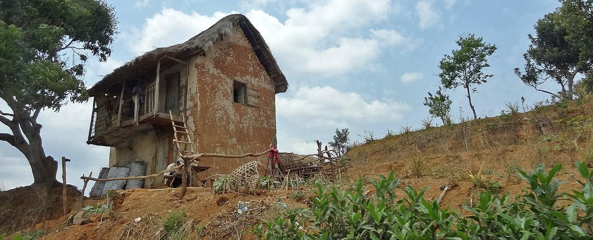 Typisches Haus im Hochland von Madagaskar
