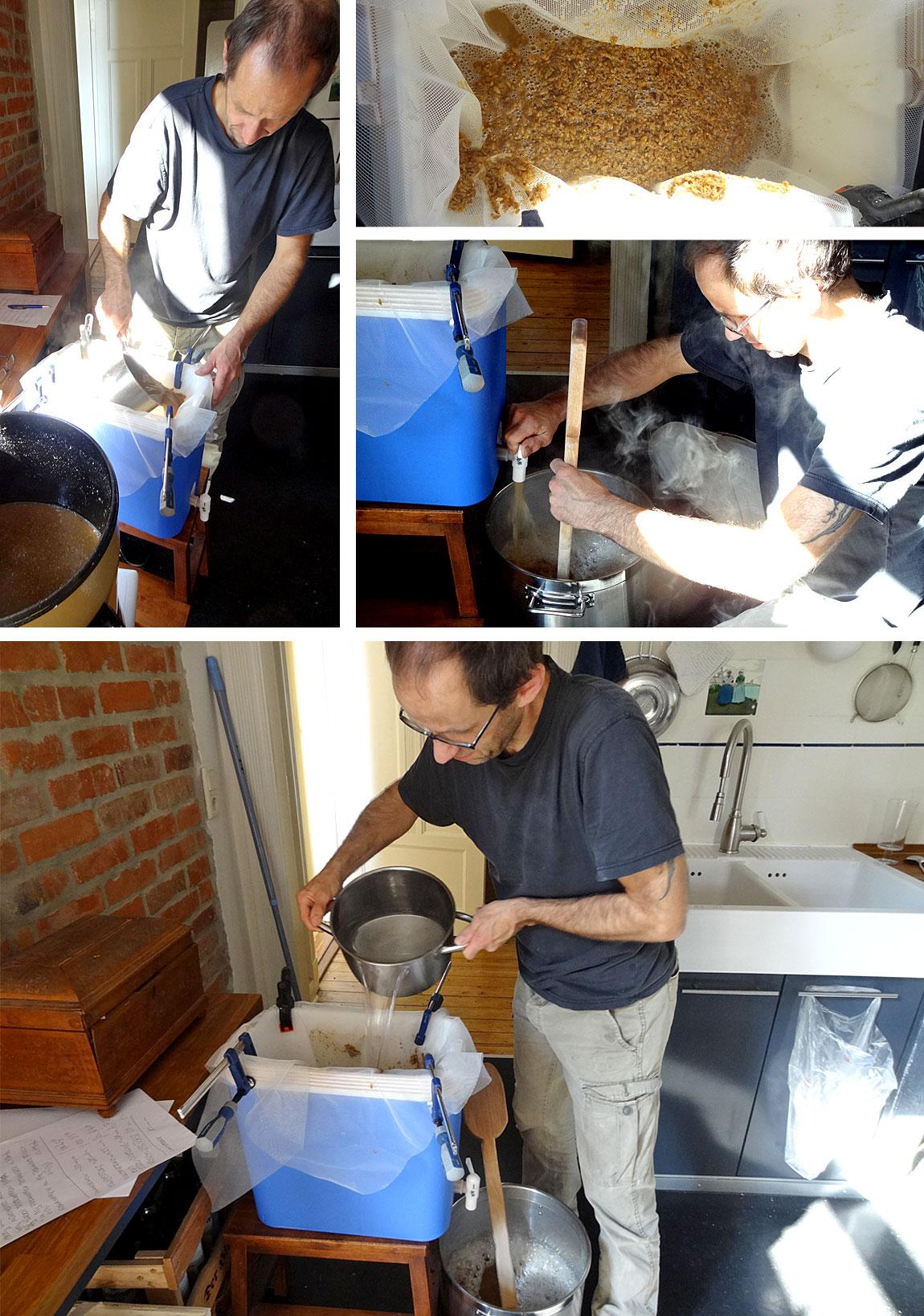 Umfüllen des Sud in den Läuterbottich, Abfüllen und Wasser nachgießen - oben sieht man den Treber