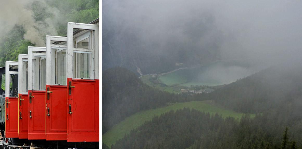 Benebelt - Dampflok und Achensee
