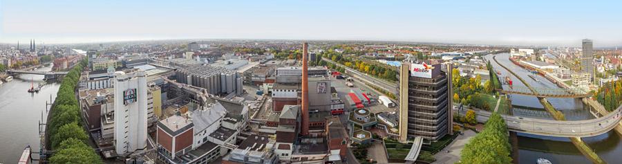 Panorama vom Werksgelände in der Neustadt zwischen Altstadt und Überseestadt, Foto: Michael Ihle / Anheuser-Busch InBev