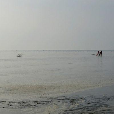 Zwei Damen harren aus, in der zügigen Flut