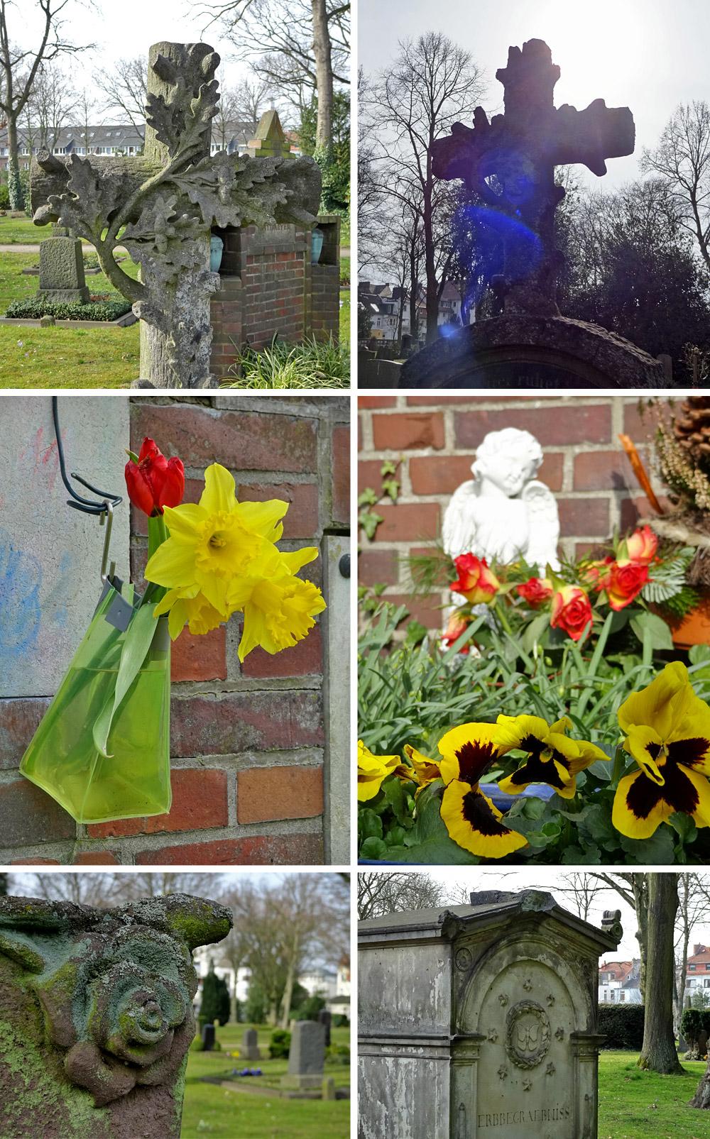 Gräber und Blumen auf dem Friedhof