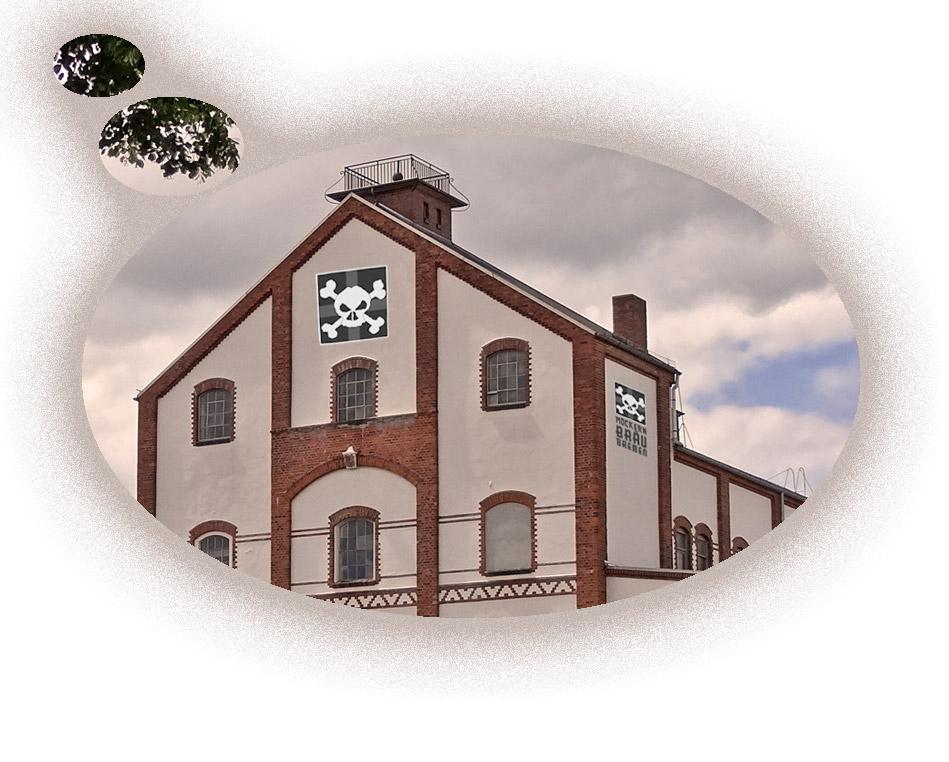 Ein Traum: Das Logo vom Möckernbräu an der Fassade der Union-Brauerei