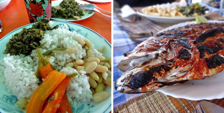 Typisches Essen im Land und am Wasser