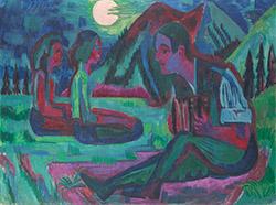 Ernst Ludwig Kirchner (1880–1938), Mondnacht; Handorgler in Mondnacht, 1924, Öl auf Leinwand, 151,0 x 200,0 cm, Städel Museum, Frankfurt am Main
