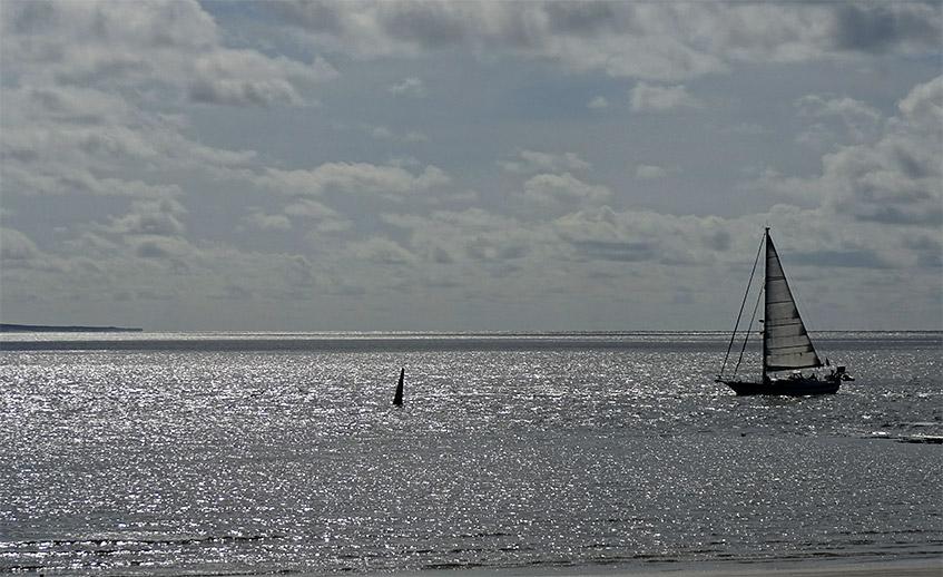 Meer und Segelboot im Abendlicht