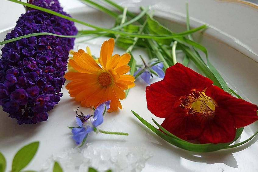Essbare Blüten, Andenknoblauch und Salz