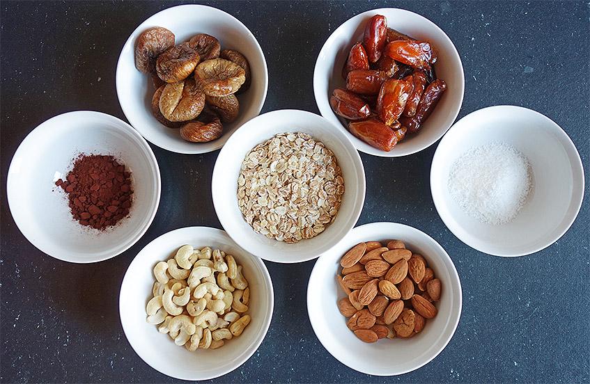Zutaten für vegane Energiebällchen
