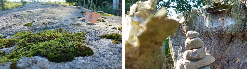 Reste eines uralten Grabes mit Gedenk-Steinhaufen