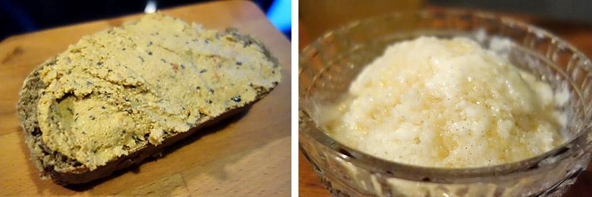 Soja, Tomaten-Oliven-Aufstrich und Sojajoghurt-Eis