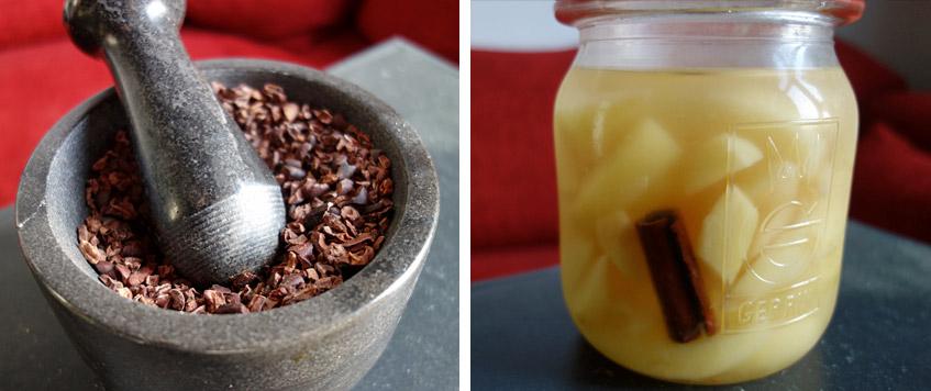 Faire Bio-Kakaonibs und Birnen aus einem Neustädter Garten