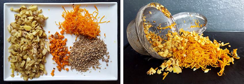Ingwer, Kurkuma, Orangenzesten und Koriander fürs Wit